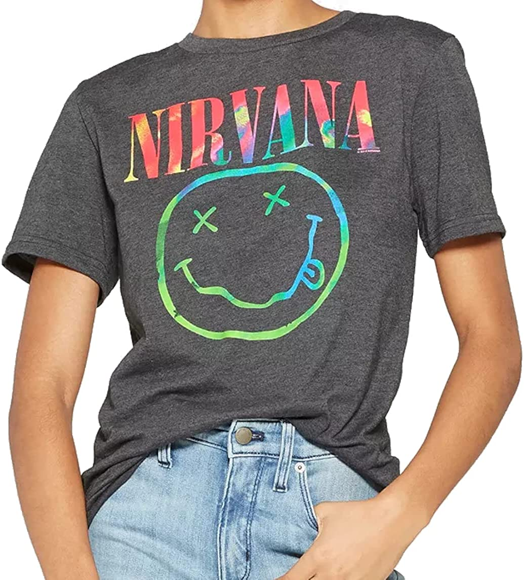 Nirvana Women's Short-Sleeve Neon Smile Boyfriend Graphic T-Shirt (Black)