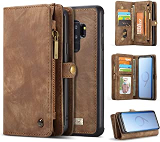 KONKY Caseme Samsung Galaxy S9 Wallet Case, Magnetic Detachable Removable Phone Cover Pouch Folio Durable Leather Purse Flip Card Pockets Holder Bag Smooth Zipper - Brown