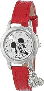 Disney Women's Mickey Mouse Lizard Strap with Charm Watch Silver MK1042