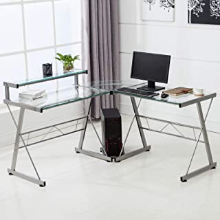 Best glass office desk with drawers Reviews