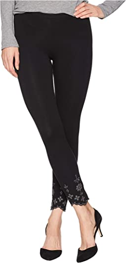 Embroidered Hem Cotton Skimmer Leggings