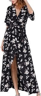 Women Wrap Maxi Dress Boho Floral Flowy V Neck Short Sleeves Split Summer Party Beach Dresses