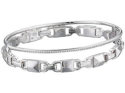 Michael Kors Precious Metal-Plated Sterling Silver Mercer Link Pave Halo Bangle Bracelet (Silver) Bracelet