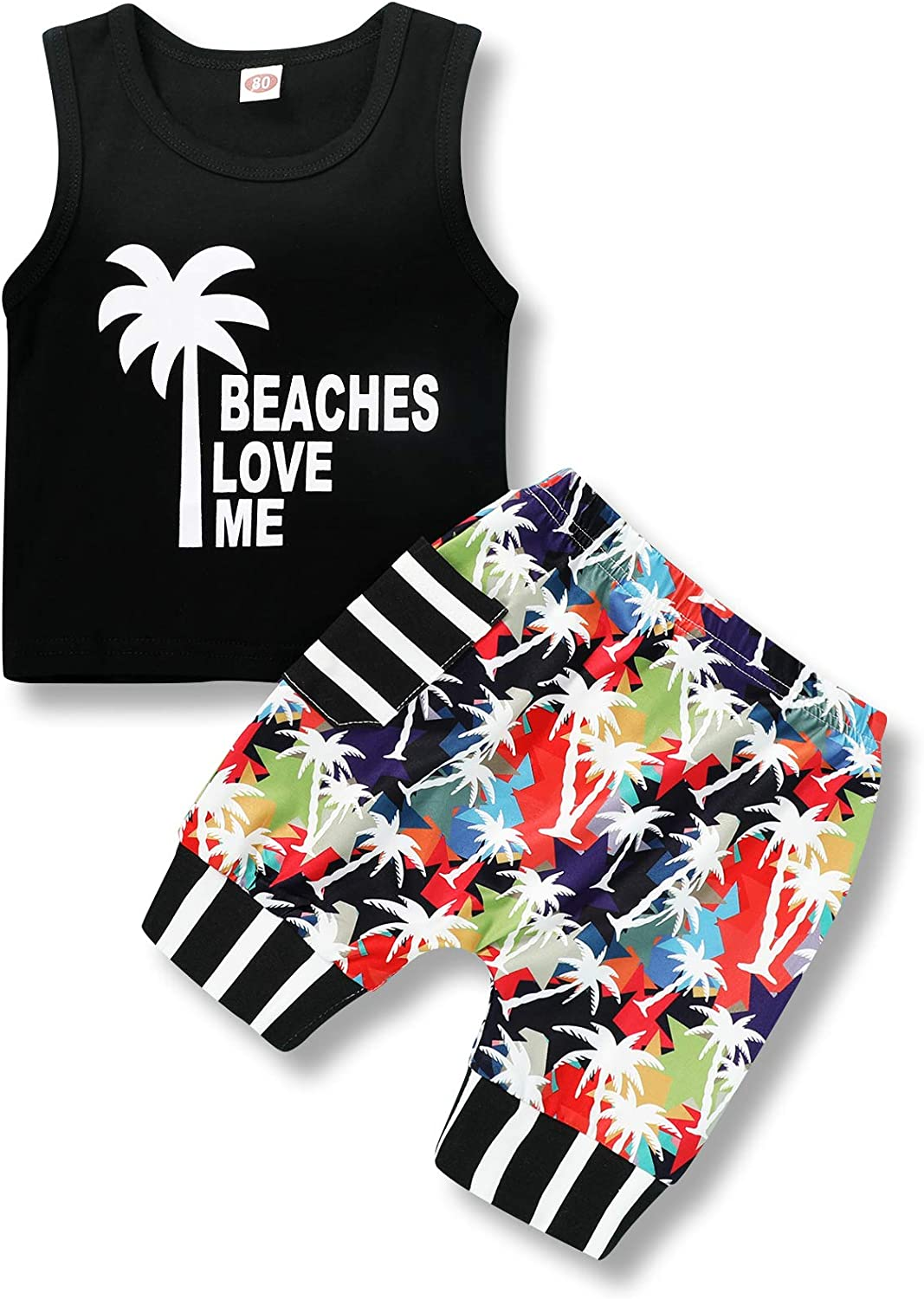 Infant Baby Boys Summer Casual Clothes Set Beaches Love Me Vest Tops +Shorts (Beach Love ME#2, 6-12 Months)
