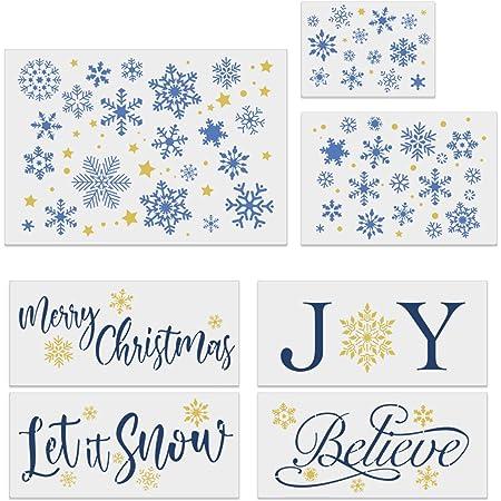 8x Christmas Layering Stencils Embossing Template Painting Scrapbooking DIY Tool
