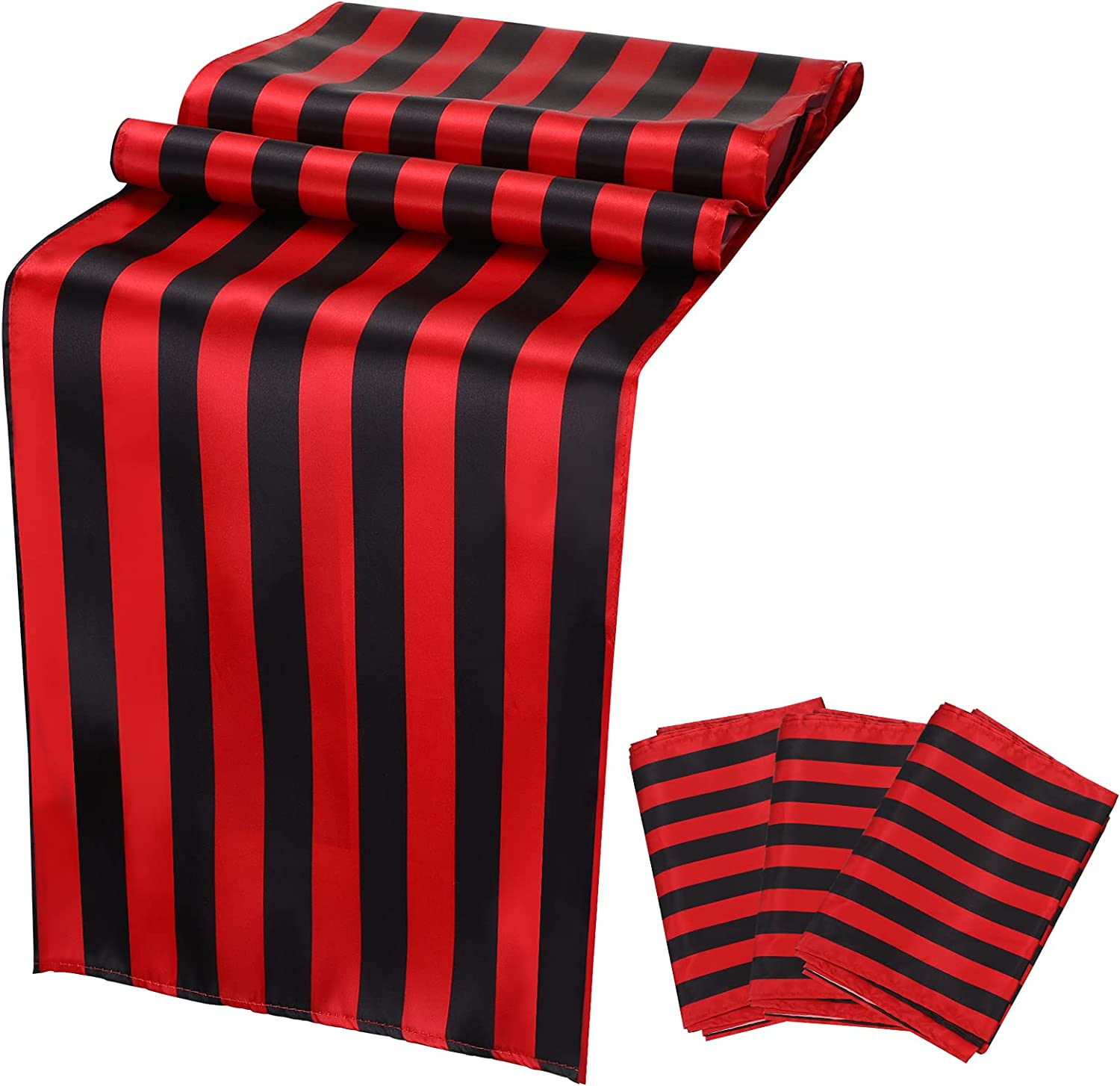 Striped Table Runner 4 Pieces Black and Red Table Decor Polyester Striped Tablecloth Classic Washable Runner for Indoor Outdoor Christmas Home Kitchen Dining Table Party Decoration, 12 x 72 Inches