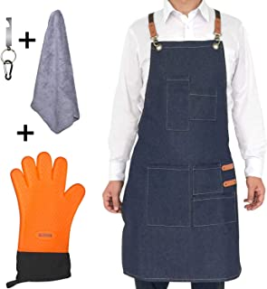 Megawodar Grill Apron Set Include 1 BBQ Glove,1 Bottle Opener,1 Towel and 1 Demin Aprons