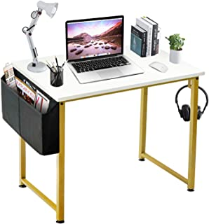 LUFEIYA Small Computer Desk White Writing Table for Home Office Small Spaces 31 Inch Modern Student Study Des with Gold Le...