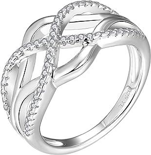 YL حلقات عقد سلتيك 925 الفضة الاسترليني ملتوية عقدة خاتم 18 كيلو ذهب أبيض مطلي زركونيا اللانهائية خواتم للنساء