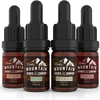 Beard Oil Sample Size Pack - 4 Unique Beard Oil Varieties (0.17 oz each) - Cedarwood, Sandalwood, Bamboo & Unscented – Contains Essential Oils to Hydrate & Condition Beards