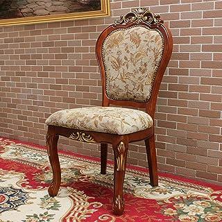 ZUQIEE Silla de comedor de madera maciza, diseño de hojas doradas, estilo retro, estilo americano, de fácil montaje, 2 piezas de sillas de cocina (color: marrón, tamaño: 52 x 50 x 106 cm)