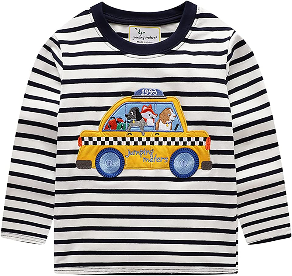 Boy Jumper Swearshirt for Little Boys Cotton Long Sleeve Black and White Striped Tops Casual Wear Dinosaur for Age 2-7 Years