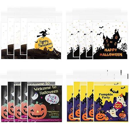 LOVEXIU Halloween Sacchetti di Caramelle(200pcs),Sacchetti per Snack Trasparenti Autoadesivi, Confezione Regalo per Halloween,Sacchetti di Plastica per Feste di Halloween, Artigianato