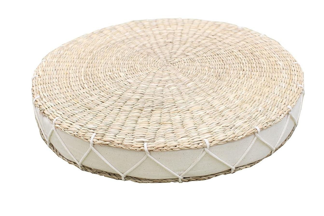 確立味付け哀い草 座布団 円形『 カルロ 』【IT】アイボリー(#9836826)直径38cm丸×高さ5cm