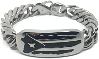 Papiichulo Stainless Steel Puerto Rican Flag Island Link Bracelet for Men (8.5