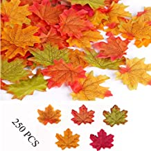 Yesallwas 250Pcs Fake Fall Maple Leaves Decoration Assorted Mixed Fall Colored Artificial Maple Crafts Leaves for Weddings,Thanksgiving,Christmas,Party,Events and Fall Decorating (A)