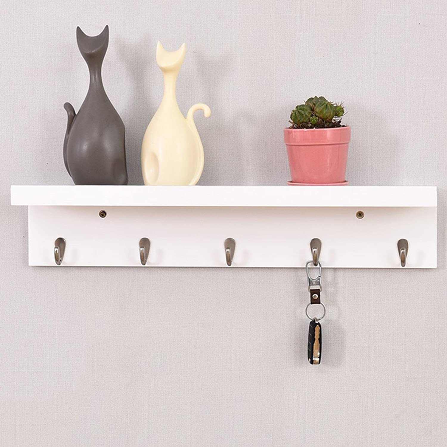 Solid Wood Wall Hanging Clothes Hat Scarves Rack Bedroom Bathroom Coat & Hat Stand with Hooks Creative Household Storage Organizer Shelves Size Optional (Size   61  13  13cm)
