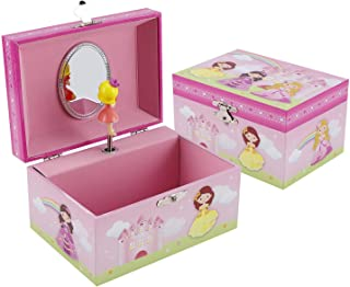 TAOPU Sweet Musical Jewelry Box with Spinning Cute Princess Figurines Music Box Jewel Storage Case for Girls