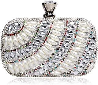 FengheYQ Women's Luxury Diamond Imitation Pearl Square Dinner Bag Wedding Dress Dress Clutch Metal Chain Shoulder Messenger Bag Wallet Size: 15.5 * 5 * 9.5cm (Color : Silver)