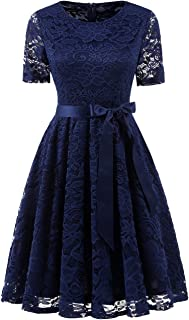 Short Scoop Bridesmaid Floral Lace Dress Cocktail Formal Swing Dress