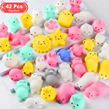 Feroxo Squishy Toys Party Favors for Kids - Squishys 42 Pack Mini Mochi Squishies, Pinata Filler Treasure Box Prizes Classroom Unicorn Cat Stress Reliever Pug Stuffed Animal Silicon Panda Plushies