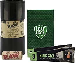 RAW Six Shooter Cone Filler, Hemp Wick, JWare King Size Cones (2 Pack), with Leaf Lock Gear Smell Proof Tobacco Pouch - 5 Item Bundle