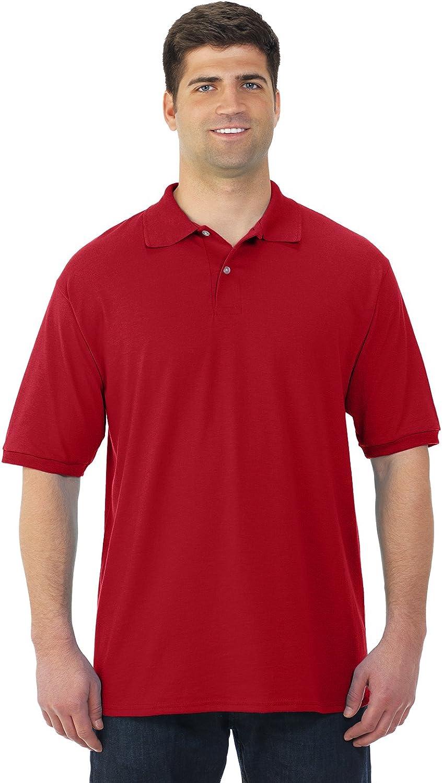 Jerzees Mens SpotShield Short Sleeve Jersey Sport Shirt, JZ437MSR, 5X, True Red