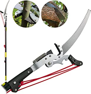 LOVSHARE Tree Pruner 5.4~17.7ft Extendable Pole Saw with 3-Sided Blade SK5 Cutting Blade Tree Pole Pruner Tree Saw Alloy Steel Branch Long Reach Pole Pruning Saw