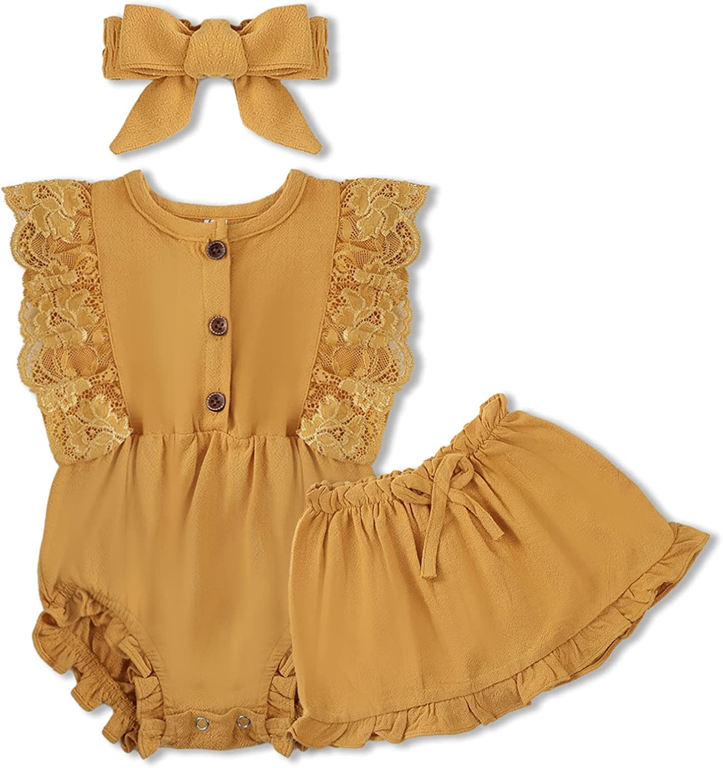 Baby Girl Clothes Ruffled Sleeveless Newborn Girl Clothes Linen Romper Onesies Outfit Toddler Jumpsuit Casual Skirt Set