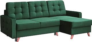 Vegas Futon Sectional Sofa Bed, Queen Sleeper with Storage, Dark Green