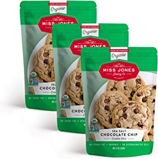Miss Jones Baking Organic Cookie Mix, Non-GMO, Vegan-Friendly, Packed with Morsels: Sea Salt Chocolate Chip (Pack of 3)