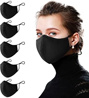 5 PCS Protective Covers with Two Adjustable Elastic Loops, Unisex Small Face Masks, Fabric M Cotton Reusable with Nose Cur...