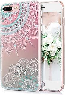 TRENSOM iPhone 8 Plus iPhone 7 Plus Case Cute Floral Pink Cyan Mandala Pattern Clear IMD Hybrid Hard TPU Shockproof Phone Cases for Women Girls-[5.5