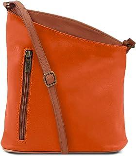 33378533f1 Tuscany Leather TLBag Sac bandoulière Mixte en Cuir Souple Orange