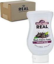 Black Cherry Reàl, Black Cherry Puree Infused Syrup, 16.9 FL OZ Squeezable Bottle (Pack of 1)