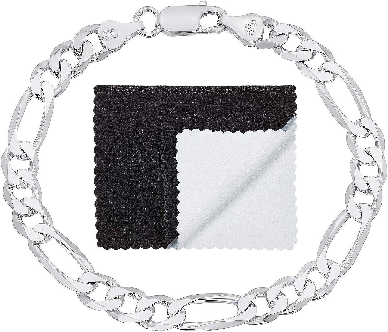 返品不可 2mm-18mm Solid .925 入手困難 Sterling Silver Chain Bracelet Flat Figaro