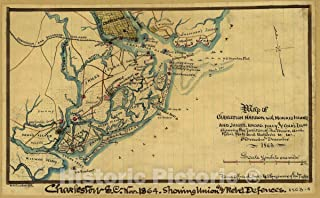 Historic Map - Map of Charleston Harbor with Morris Island and James, Broad, Folly, and Cole's Islds. : Showing The Position of The Union and Rebel forts and Batteries 71in x 44in