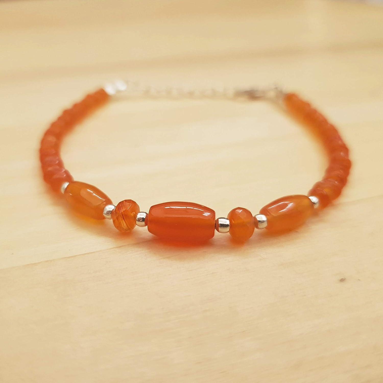 Orange Carnelian Barrel Choice Saucer Beads Se Bracelet Silver Sterling Cheap mail order sales