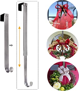 LBSUN Wreath Hanger, Adjustable Over The Door Wreath Hanger Wreath Holder Wreath Hook for Door Christmas (Nickel,20 lbs)