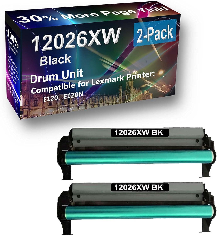 2-Pack Compatible 12026XW Drum Kit use for Lexmark E120 E120N Printer (Black)