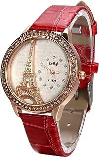 JewelryWe - Reloj de pulsera con correa de piel para el día de la madre con diamantes de imitación acentuados