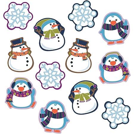 Carson Dellosa Winter Cutouts—Penguin, Snowmen, Snowflake Decorations for Seasonal Bulletin Board Displays, Holiday Homeschool or Classroom Decor (36 pc)