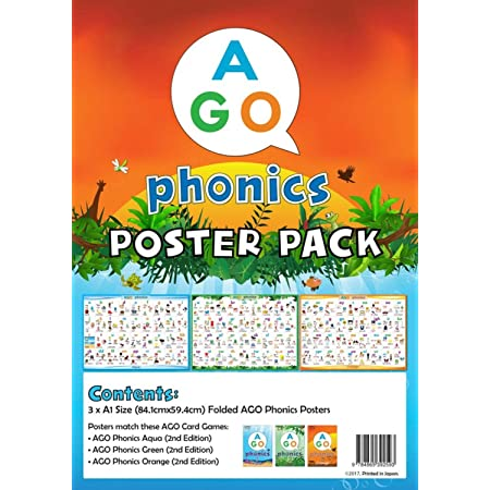 AGO フォニックス 教室用ポスター 3レベル セット 英語 9784865392593