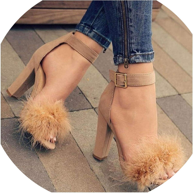 Crack of dawn Summer Fur Women Pump High Heels Classics Platform Peep Toe Square Heel Wedding Dress Pump shoes
