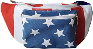 American Flag Fanny Pack Stylish Canvas For Women and Men - Cute 3 Pocket Fanny Pack (Multiple Sizes) Perfect for Country Music, America and Patriotism - Cheer The Red, White and Blue