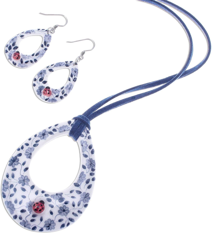 NOVICA Cute Ladybug Ceramic Jewelry Set for Girls Womens