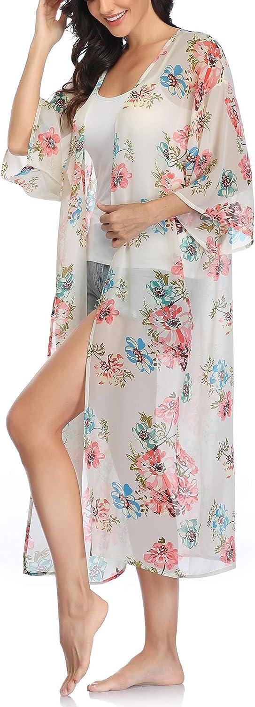 Womens Long Chiffon Floral Kimono Cardigans Loose Blouse Summer Cover Ups