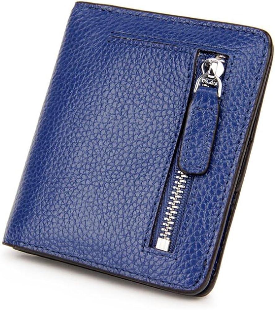 Aprinctempsd, portafoglio piccolo, porta carte di credito, protezione rfid, in pelle, blu, PER DONNA