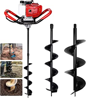"Pumplus Gas Powered 52CC Post Hole Digger for Fence and Planting with Extention and 6"" & 10"" Earth Auger Drill Bits"