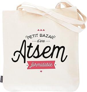 Tote bag Atsem - Petit bazar d'une atsem formidable | Manahia | Sac imprimé en France 100% coton | cadeau atsem - sac atse...